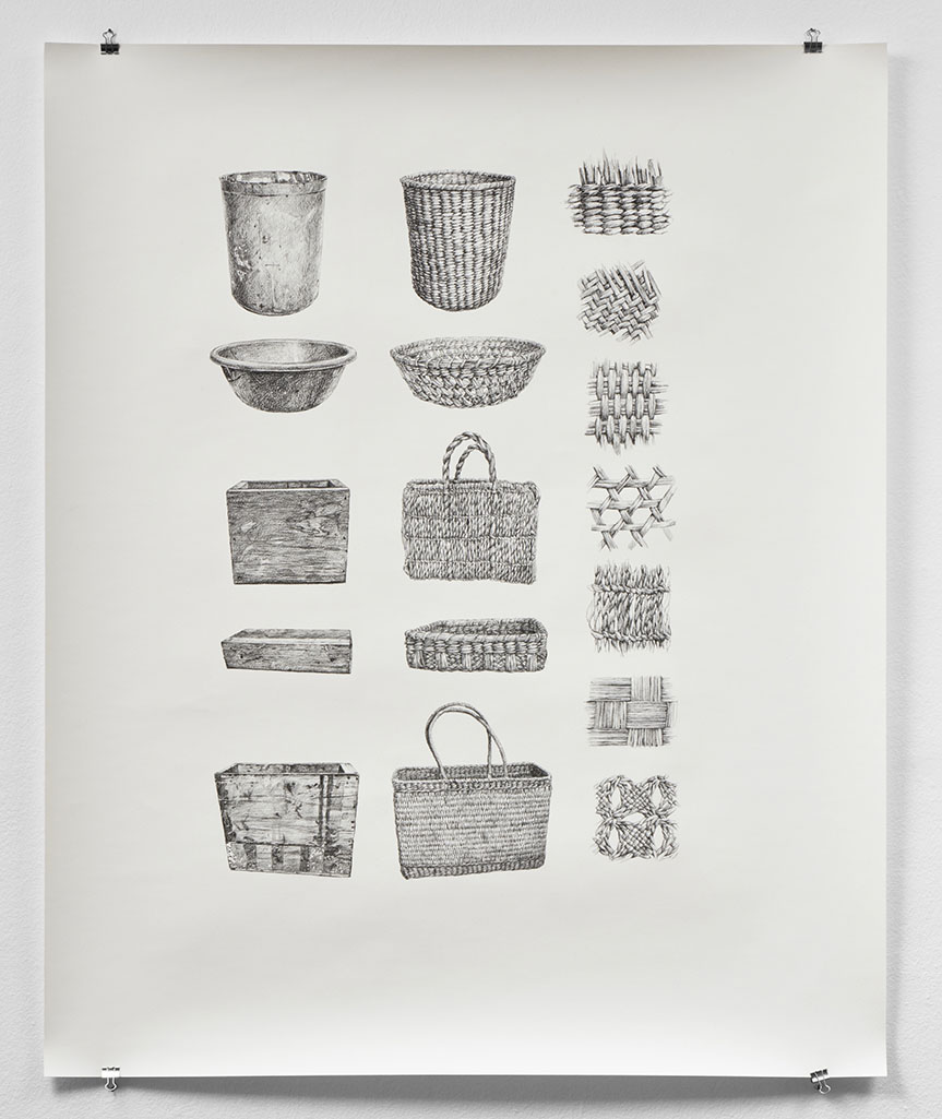 Ilustración en blanco y negro de canastas de junco. Black and white illustration of reed baskets.
